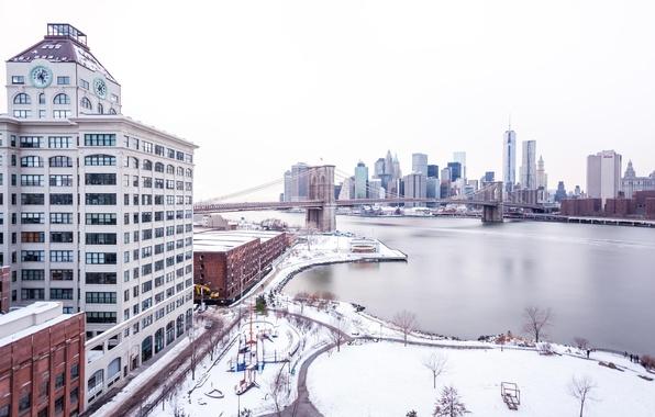 Picture winter, snow, bridge, the city, skyscrapers, USA, America, USA, New York City, new York