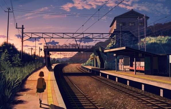Picture girl, sunset, nature, house, rails, anime, art, form, schoolgirl, nauimusuka