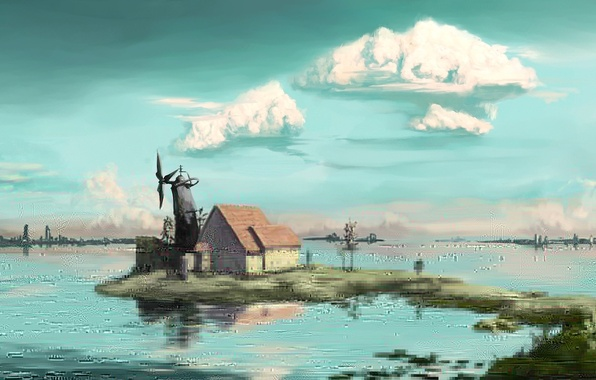 Picture clouds, trees, landscape, lake, house, art, mill, buildings