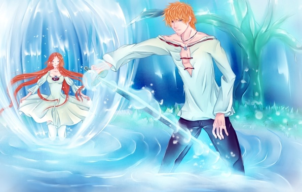 Picture water, girl, weapons, tree, sword, anime, art, guy, bleach, Kurosaki Ichigo, inoue orihime, iwonn