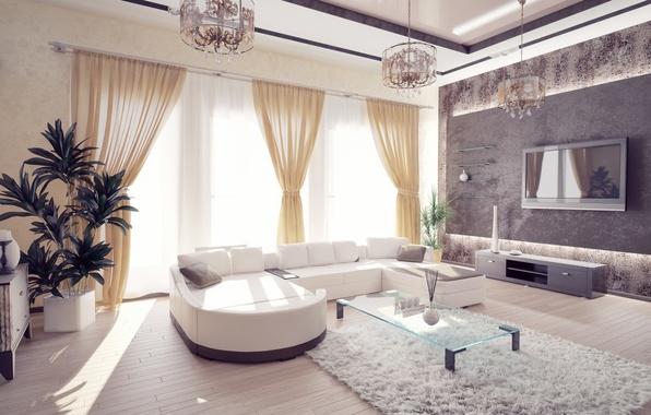 Picture design, room, sofa, Windows, interior