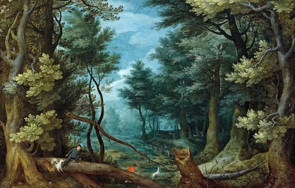 Picture picture, Jan Brueghel the elder, Forest Landscape with Deer Hunting