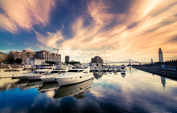 Picture the sky, bridge, the city, river, building, home, yachts, boats