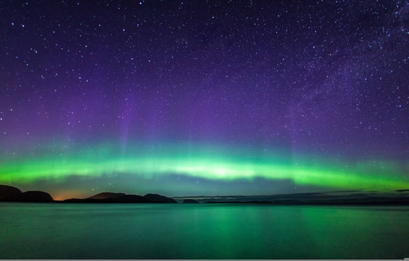 Picture the sky, stars, mountains, lake, reflection, Northern lights, mirror