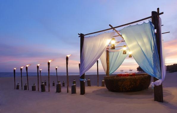 Picture beach, the ocean, romance, the evening, beach, ocean, torches, sunset, view, romantic, dinner, dinner