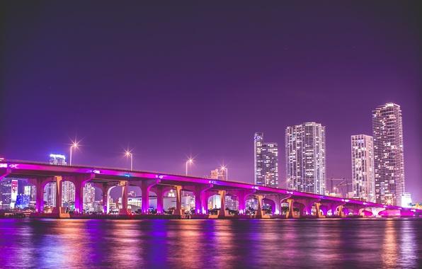 Picture night, bridge, florida, Miami, FL, miami, vice city