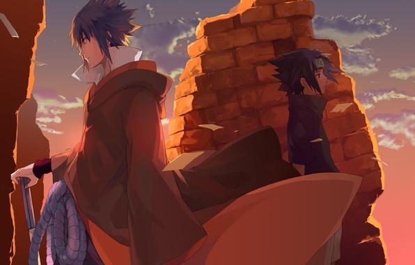 Picture the sky, clouds, weapons, sword, anime, boy, rope, art, naruto, guy, naruto, uchiha sasuke, torsion