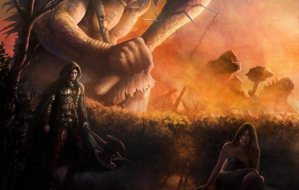 Wallpaper girl, fire, giant, Warrior, axe, stick images ...