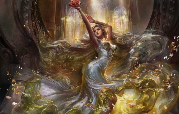 Picture girl, petals, art, Lotus, rong rong
