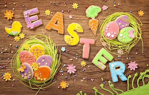 Picture spring, colorful, cookies, Easter, wood, sweet, glaze, spring, eggs, holiday, easter, cookies, decoration, letters, pastel