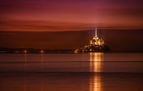 Picture sea, the sky, night, lights, castle, France, Normandy, Mont-Saint-Michel