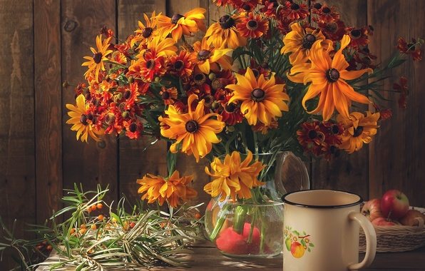 Picture flowers, table, apples, bouquet, mug, vase, still life, zinnia