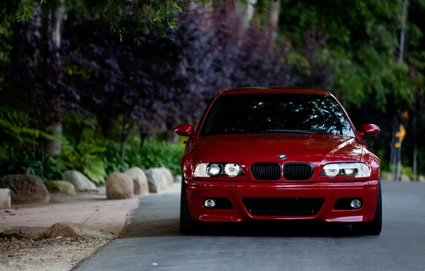 Picture road, red, stones, bmw, BMW, red, the front, e46