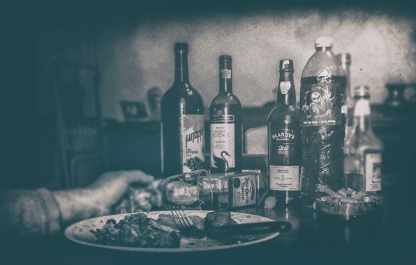 Picture plate, glass, food, drink, bottles, hand, fork, cigarette butts