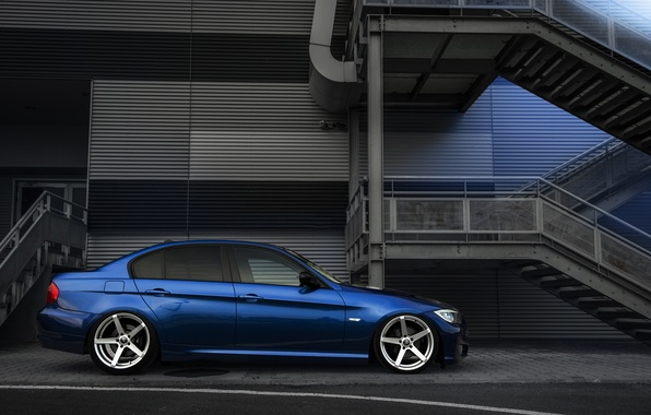 Picture BMW, Tuning, Blue, BMW, Drives, E90, Deep Concave, Rollers