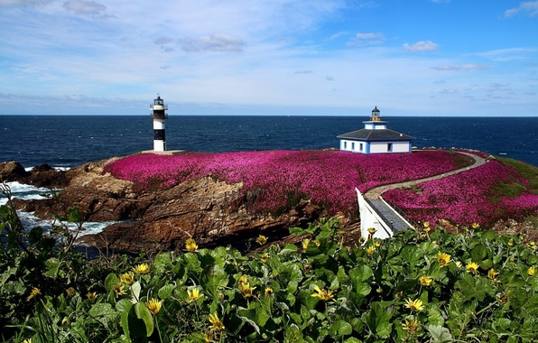 Picture landscape, nature, photo, lighthouse, island, Europe, Spain, Galicia Punch