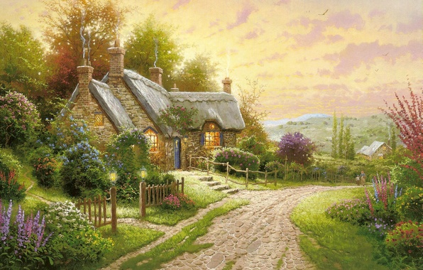 Picture road, summer, flowers, picture, the evening, house, painting, cottage, Thomas kinkade, Kincaid