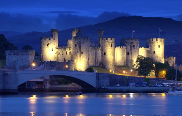 Picture mountains, night, bridge, lights, river, castle, England, lights, fortress, North Wales, Conwy Castle