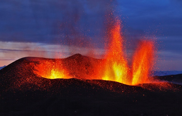 Wallpaper the volcano, the eruption, Iceland ...