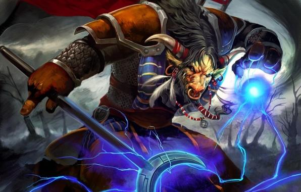 Wallpaper lightning wow world of warcraft tauren horde - Wow tauren wallpaper ...