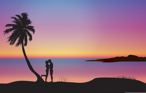 Picture sunset, Palma, romance, pair, silhouettes, lovers, composition