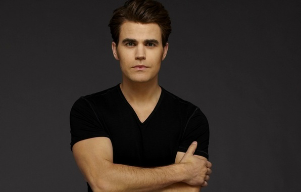 Picture grey, background, actor, male, the series, The Vampire Diaries, The vampire diaries, Paul Wesley, Paul …