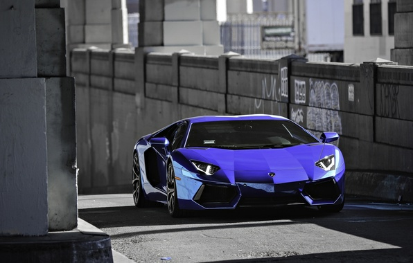 Picture blue, shadows, lamborghini, Blik, blue, the front, aventador, lp700-4, Lamborghini, aventador, running lights