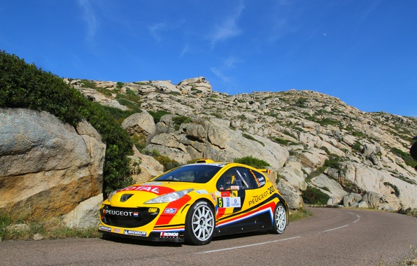 Picture Yellow, Rocks, Sport, Day, Peugeot, WRC, Rally, Rally, The front, 207