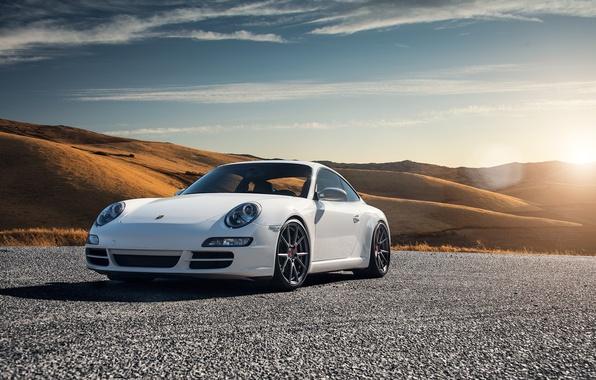 Picture car, white, Carrera S, Porsche 997