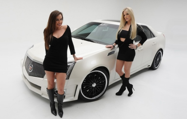Picture Girls, blonde and brunette, two beautiful girls, cadillac cts 2008, stand near the car, brunette …