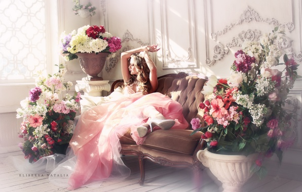 Picture girl, light, flowers, room, sofa, hair, window, blonde, shoes, profile, curls, vases, pink dress