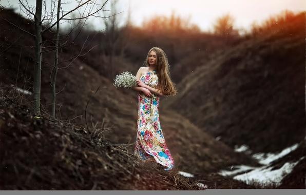 Picture girl, flowers, nature, dress, bokeh, Karen Abramyan, the arrival of spring