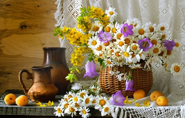 Picture summer, basket, chamomile, dishes, still life, bells, wildflowers, apricots, pitchers, loosestrife