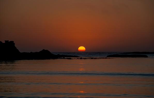 Picture sea, the sky, the sun, sunset, rocks, horizon