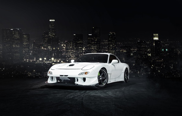 Picture the city, white, before, Mazda, white, skyscrapers, front, Mazda, RX-7