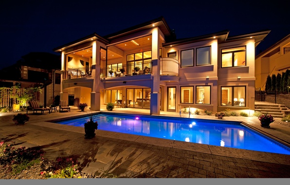 Picture night, house, Villa, house, pool, home, homes, pool., pools, exterior, naght