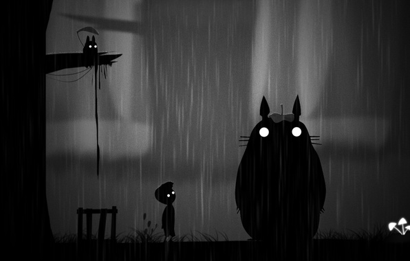 Picture night, rain, art, Totoro, Limbo. boy