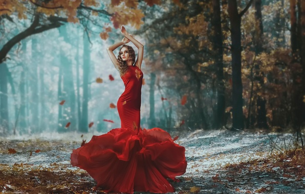 Picture girl, figure, dress, in red, falling leaves, autumn forest, Darya Chacheva