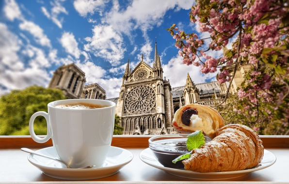 Picture Paris, coffee, Breakfast, Paris, cathedral, France, Our Lady, cup, jam, spring, coffee, growing, breakfast, croissant, …