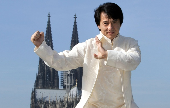 Picture white, the sky, joy, smile, costume, actor, palm, celebrity, fist, stand, Director, Jackie Chan, stuntman, …