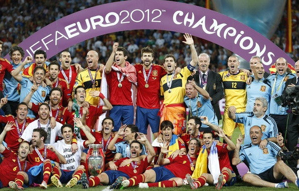 Picture gold, football, victory, Spain, the final, Cup, football, Fernando Torres, Spain, Champions, medals, Xavi, final, …