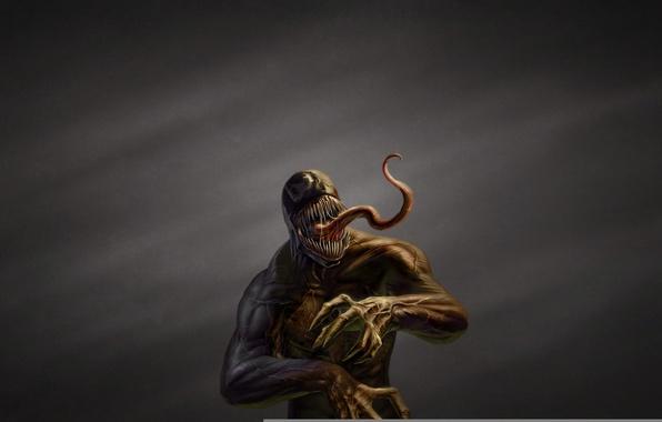 Picture language, the dark background, monster, comic, toothy, Spider-Man, Venom, Venom, Symbiote