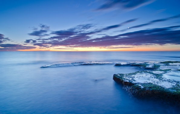 Picture sea, the sky, clouds, sunset, stones, the moon, blue, shore, coast, moss, the evening, calm, …