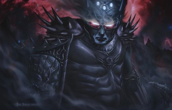 Picture stars, fog, armor, spikes, Warrior, burning eyes