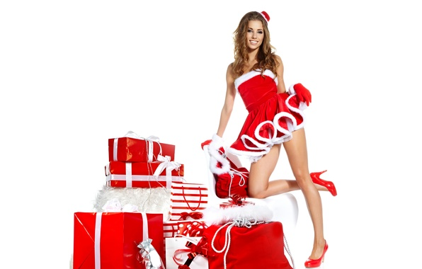 Picture girl, smile, outfit, gifts, brown hair