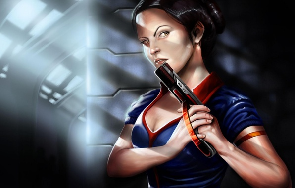 Picture girl, light, gun, weapons, art, angle