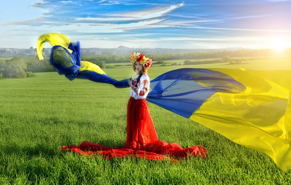 Picture field, the sky, grass, blue, yellow, flag, blonde, braid, Ukraine, wreath, Ukrainian, embroidery