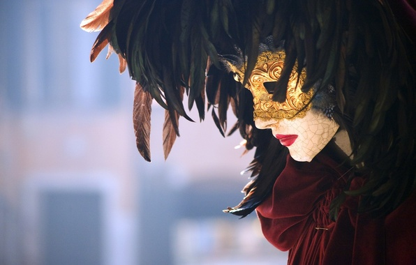 Picture feathers, mask, carnival, Venice