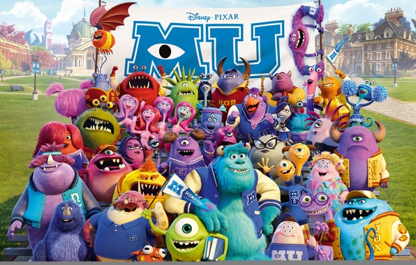 Picture cartoon, monsters, company, students, Academy of monsters, Monsters University, Inc., Monsters Inc., Monsters University, Monsters