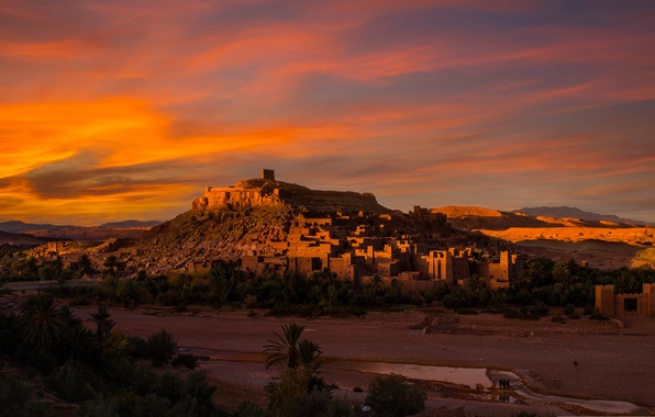 Picture the city, tower, home, hill, glow, Africa, Morocco